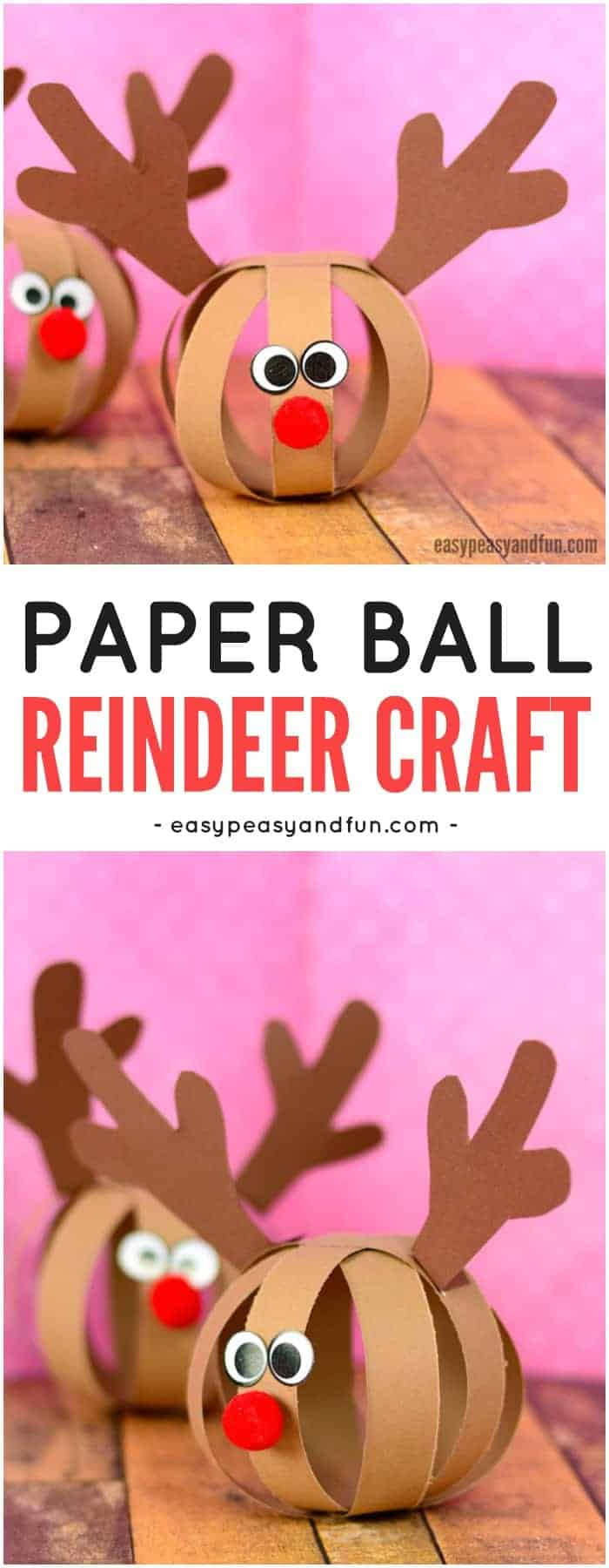 Paper Ball Reindeer Kid Craft