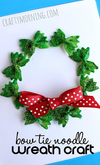 Bow Tie Noodle Wreath Christmas Kid Craft