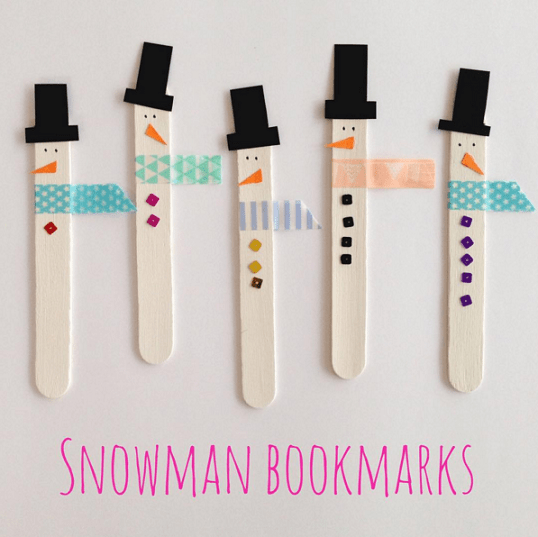 Popsicle Stick Snowman Bookmarks