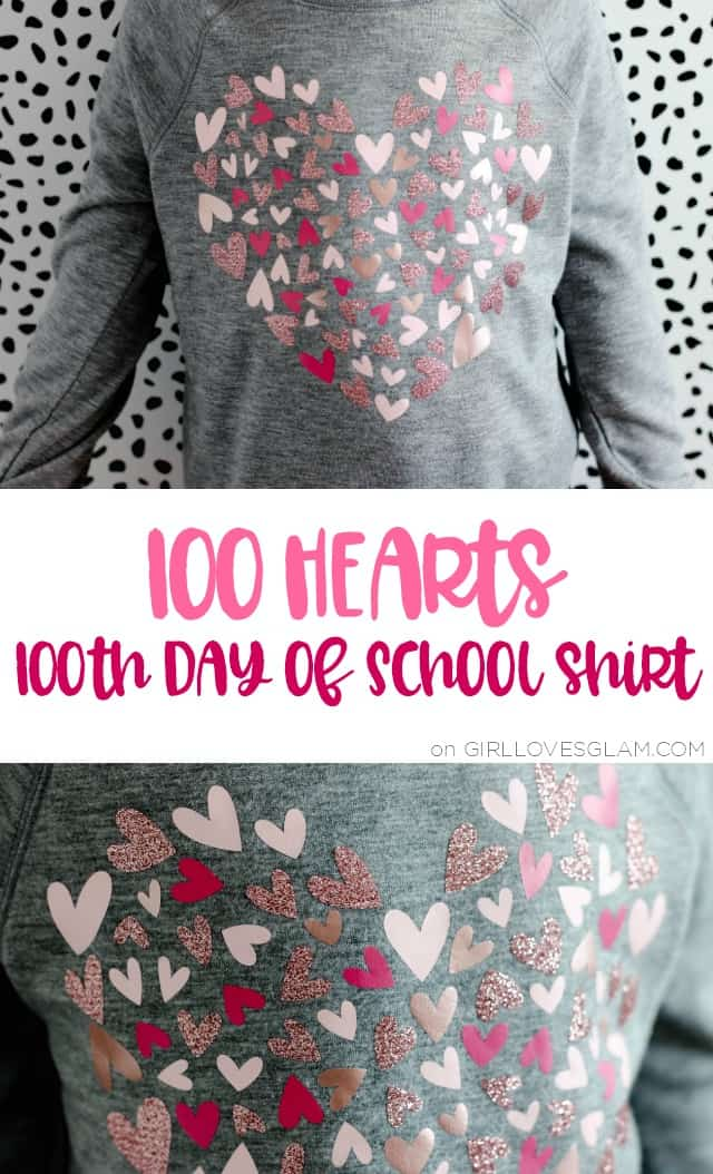 100 Day of School Shirt with 100 Hearts