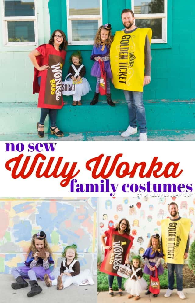 No Sew Willy Wonka Family Costumes