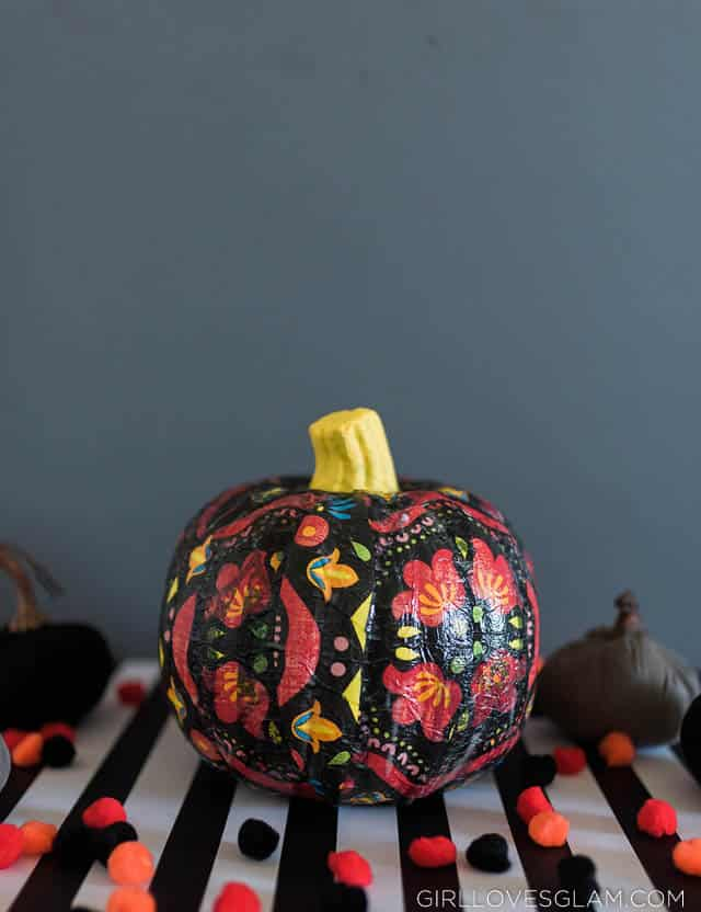 Floral Day of the Dead Pumpkin