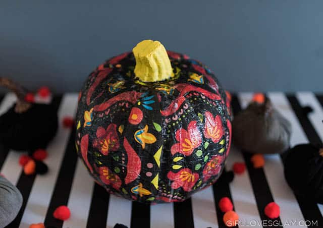 Easy Floral Decorative Halloween Pumpkin made with Mod Podge