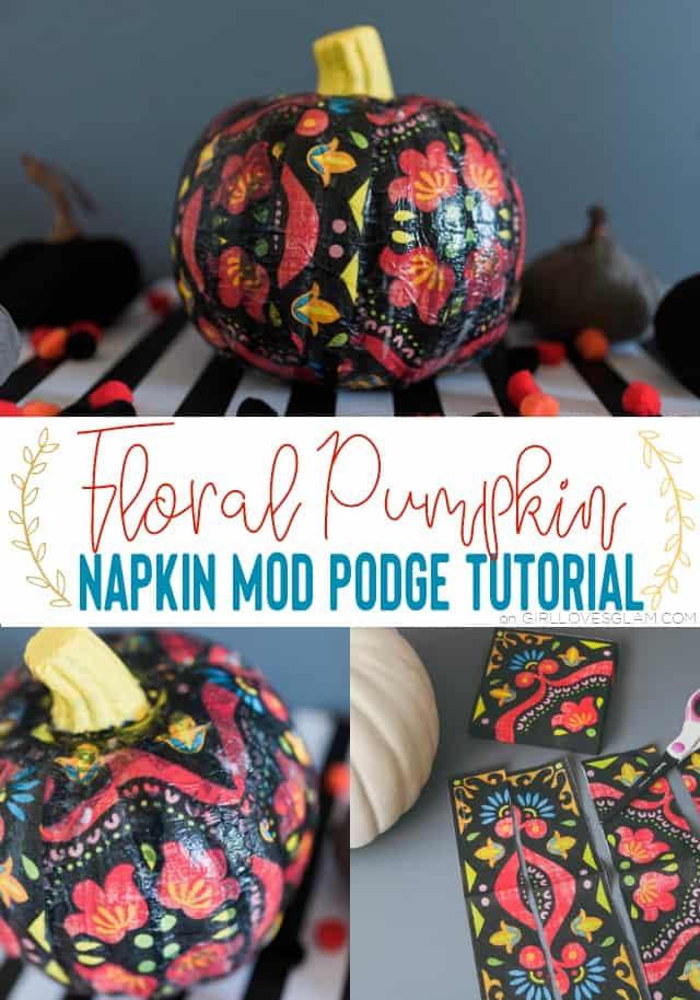Floral Pumpkin Mod Podge Craft