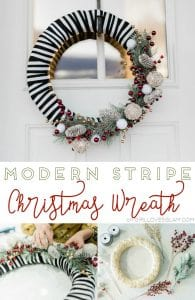 Modern Stripe Christmas Wreath on www.girllovesglam.com