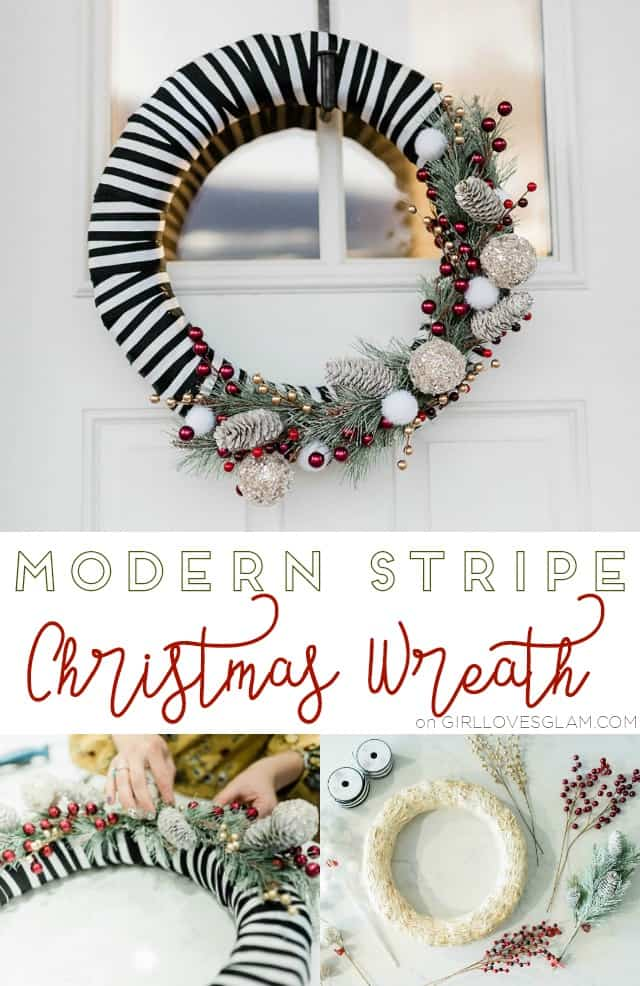 Modern Stripe Christmas Wreath on www.girllovesglam.com