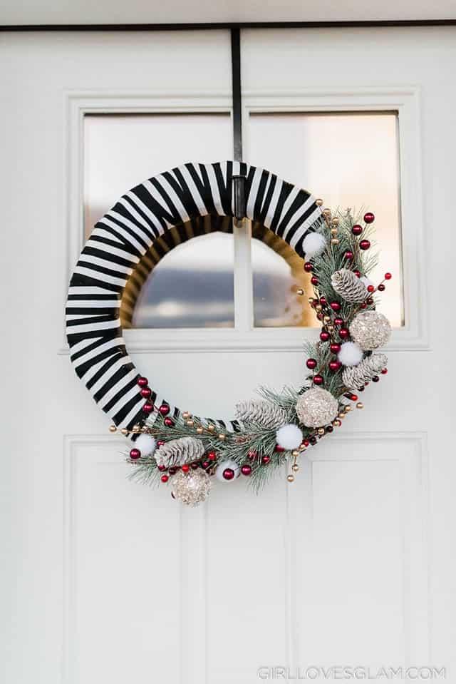Striped Modern Christmas Wreath