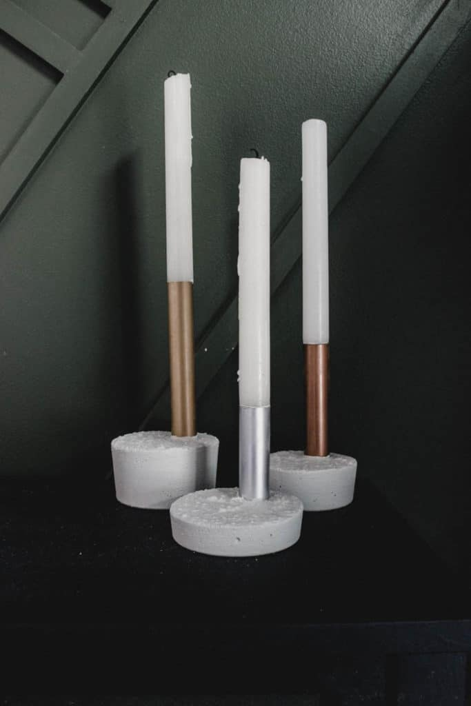 Metallic Concrete Modern Christmas Candlesticks