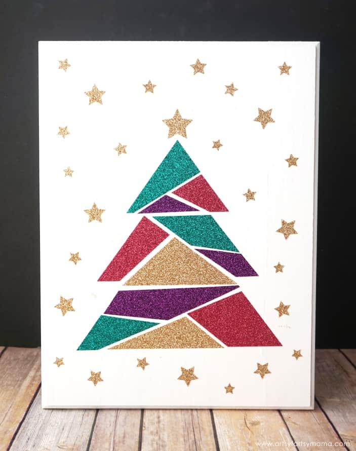 Modern Christmas Tree Geometric Sign