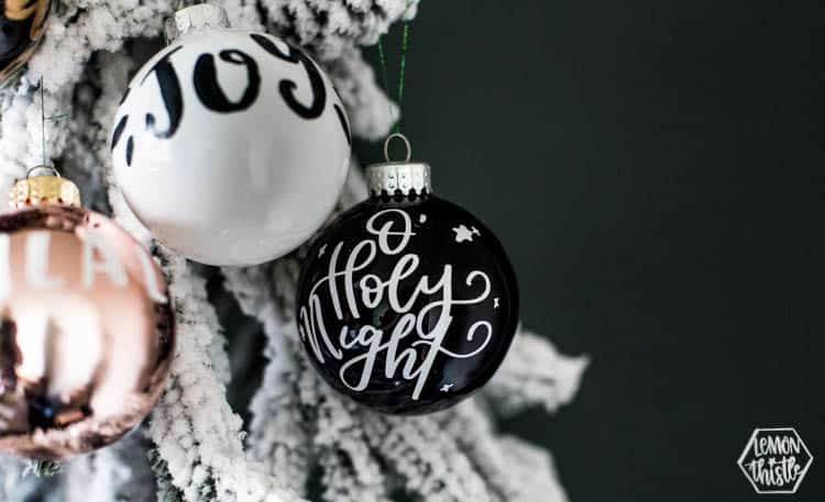 Handlettered Modern Christmas Ornaments
