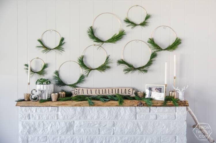 Modern Christmas Hoop Wreath