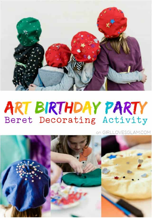 Art Birthday Party Beret Decorating Activity