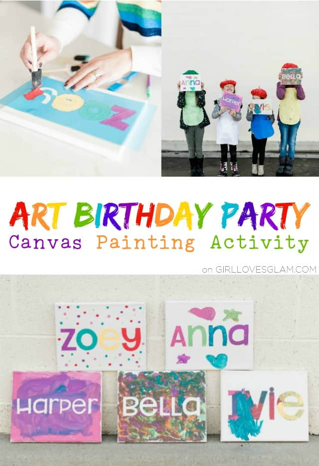 Art Birthday Party Canvas Painting Activity