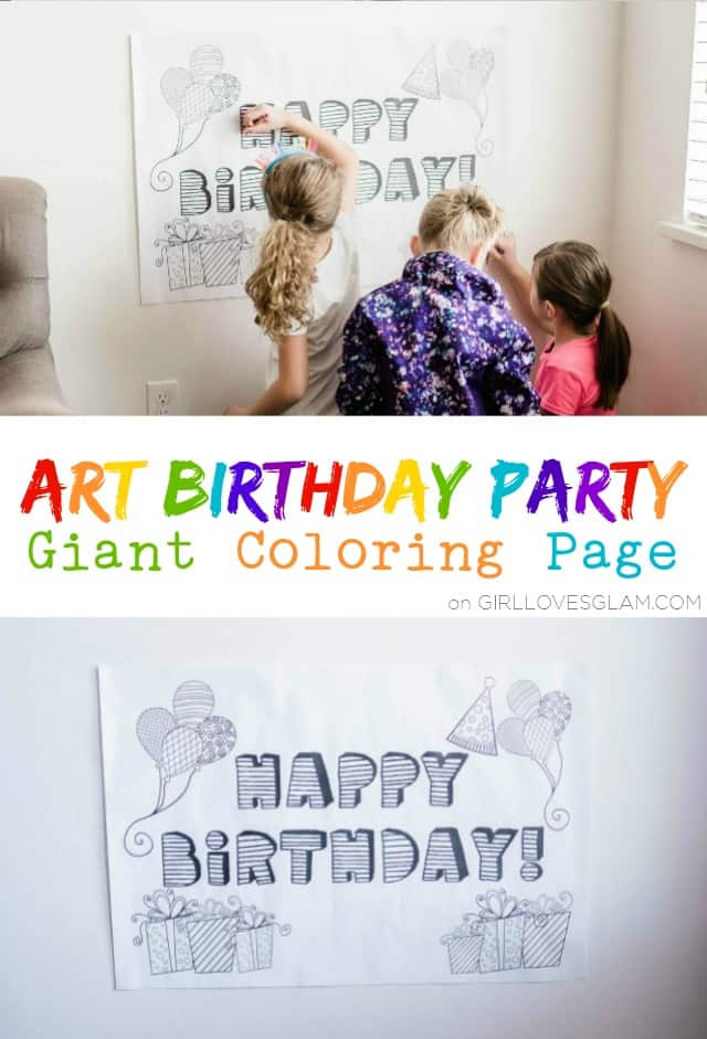 Art Birthday Party Giant Coloring Page