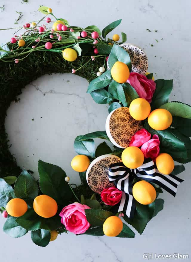 Lemon Wreath with Pink Flowers