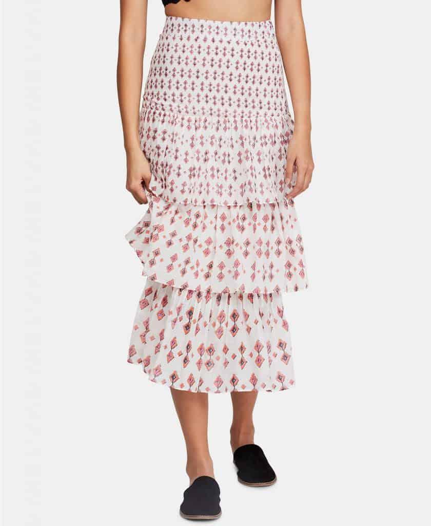 Free People Cha Cha Tiered Midi Skirt