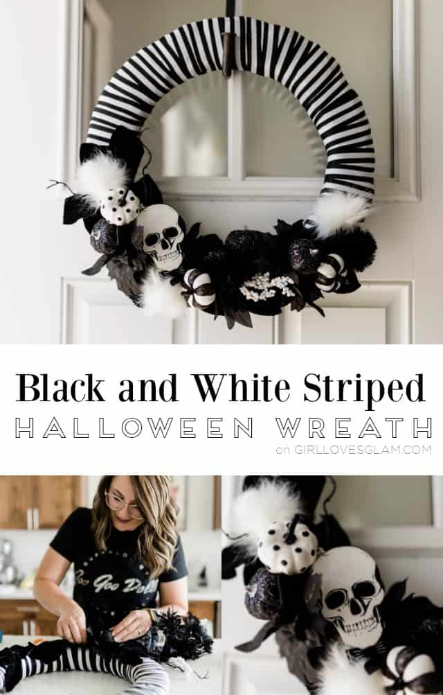 Black and White Striped Halloween Wreath