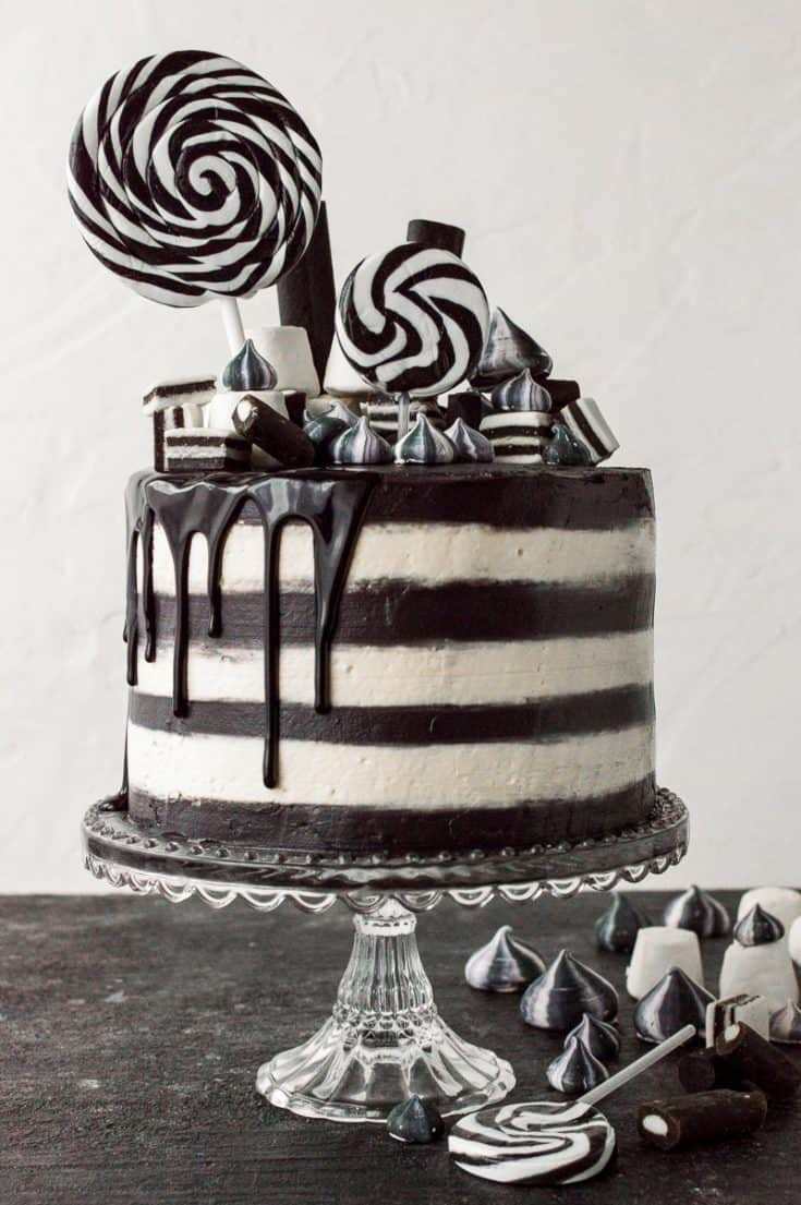 Black and White Striped Cake