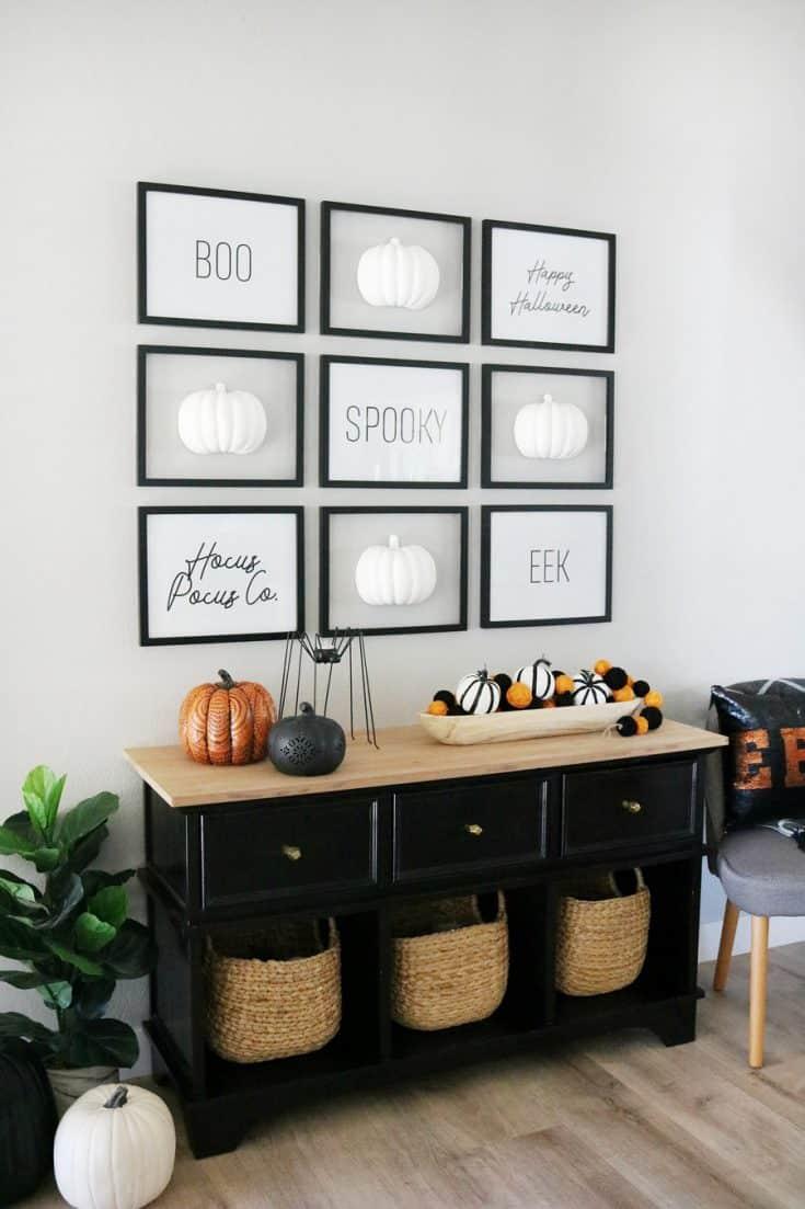Black & White Halloween Pumpkin Gallery Wall Entryway