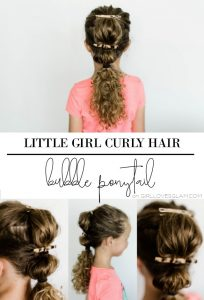 Little Girl Curly Hair Bubble Ponytail