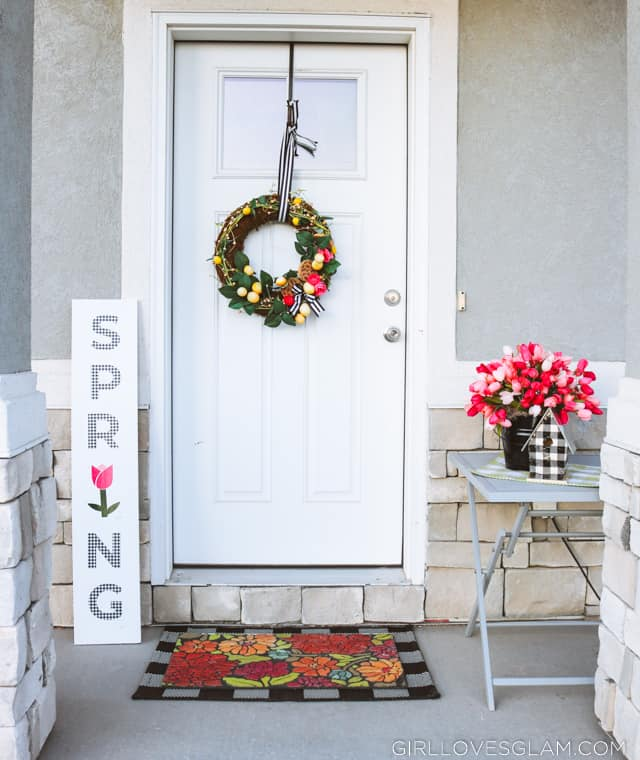 Buffalo Plaid and Pink Spring Porch