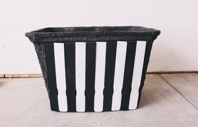 Black and White Striped Planter Box