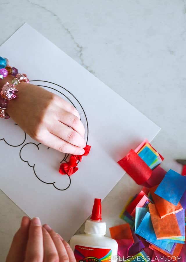 Coloring Page with Tissue Paper